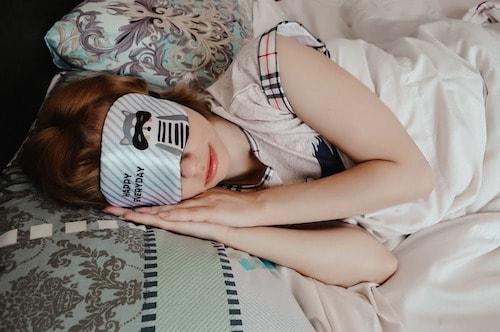 Sleep mask in bed